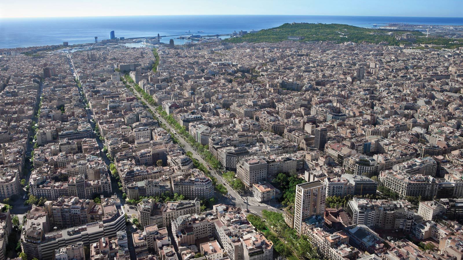 Computer enhanced image of Barcelona – aerial view